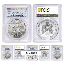 Lot De 5 2020 (p) Question 1 Oz D'argent American Eagle Pcgs Ms 70 Fdoi D'urgence