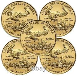 Lot De 5 2021 1/10 Oz Gold American Eagle Coin Brilliant Uncirculated