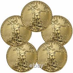 Lot De 5 2021 1/10 Oz Gold American Eagle T-1 5 $ Coin Gem Bu