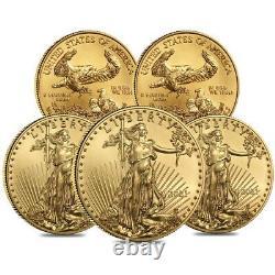 Lot De 5 2021 1/4 Oz Gold American Eagle $10 Coin Bu