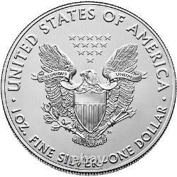 Lot De 5 2021 1oz American Silver Eagles. 999 Pièces Bu Argent Fin Flambant Neuves