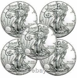 Lot De 5 2021 American Eagle Coins 1 Oz. 999 Fine Silver Immediate Ship
