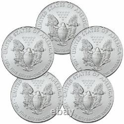 Lot De 5 2021 American Silver Eagle Gem Brilliant Uncirculated Coins Presale