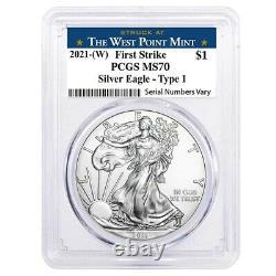 Lot De 5 2021 (w) 1 Oz Silver American Eagle $1 Coin Pcgs Ms 70 Fs West Point