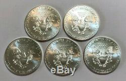 Lot De 5 Bu 1 Oz D'argent 2014 American Eagles, 1 Oz Coins. 999 En Argent Fin