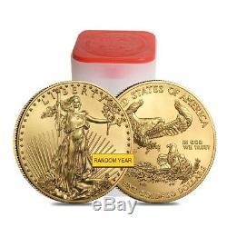 Lot De 5 Bu De 1 Oz En Or American Eagle De 50 $ Bu (année Aléatoire)