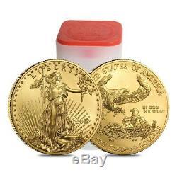 Lot De 5 Onces D'or 2019 Américain 1 Aigle 50 $ Coin Bu