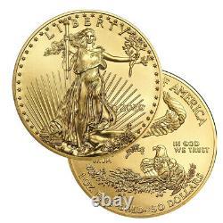 Lot De 5 Or 2020 D'eagle Us 50 $ Américains 1 Once Coins Or
