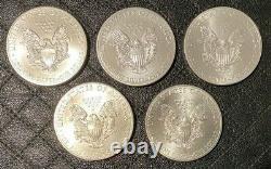 Lot De (5) Pièces 2015 Us American Silver Eagle 1 Oz. Argent Fin