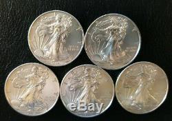 Lot De 5 Pièces D'argent 2019 American Eagle De 1 Once. 999 Amende Bu