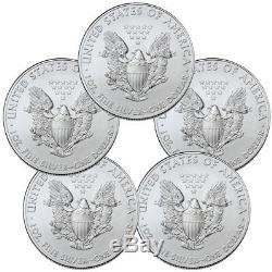 Lot De 5 Pièces De 1 020 $ Us Bu 1 009 American Silver Eagle De 1 Oz