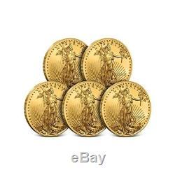 Lot De 5 Pièces De Monnaie Fraîches En Or 2018 Avec 1/10 Oz D'or Américain - 5 $ Gem Bu Mint