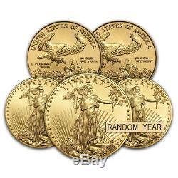 Lot De 5 Pièces De Monnaie Us $ 5 1/10 Oz D'or (année Aléatoire)