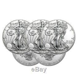 Lot De 5 Silver 2019 American Eagle 1 Oz. Pièces De Monnaie. 999 Eagles Américains En Argent Fin 1 Oz