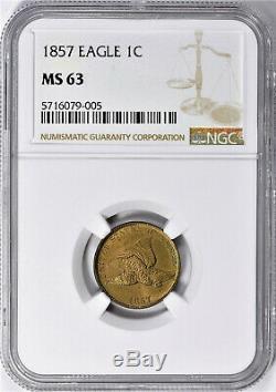 Lot De Un Ngc-certifié, Ms 63, 1857 Cent Envol De L'aigle Coin