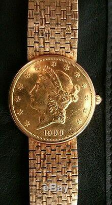 Mint Hommes Corum 20 $ American Eagle Double Or Coin Montre W18kt Band Or Massif