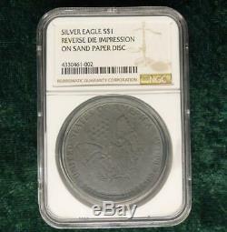 Ngc Silver Eagle 1 Rev $ Impression Frappé Sur Sable Papier Fou Mint Erreur