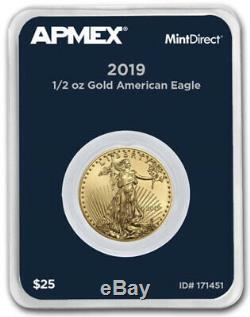 Nouveau 2019 1/2 Oz D'or American Eagle (mintdirect Single) Dans La Menthe Package Directe