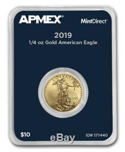Nouveau 2019 1/4 Oz D'or American Eagle (mintdirect Single) Dans La Menthe Package Directe