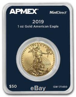 Nouveau 2019 1 Oz D'or American Eagle (mintdirect Single) Dans La Menthe Package Directe