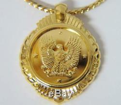 Nouveau Collier Pendentif Aigle Franklin Franklin 1989 Avec Pièce En Or Massif Par Gilroy Roberts