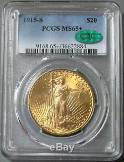 Or 1915 S $ 20 Pièce De Monnaie Double Aigle Saint Gaudens En État Neuf + 65 Cac