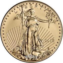 Pièce D'or De 50 Dollars En 2018 American Gold Eagle (1 Oz) Dans Une Boîte Cadeau Aux États-unis