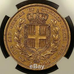 Pièce De 100 Lires Italie En Sardaigne Doré De 1835, Marque Menthe Eagle, Ngc Au-58