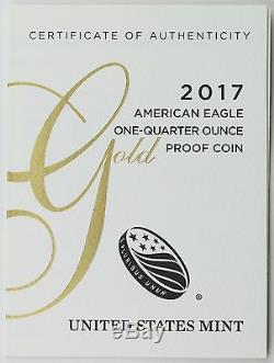 Pièce De Monnaie Américaine Preuve D'un Quart D'or De La Part De L'aigle Américain Avec 2017