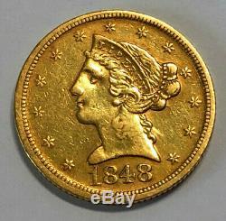 Pièce De Monnaie Demi-aigle En Or Liberty 1848-d De 5 $, À La Menthe Dahlonega, Tirage De Seulement 47 465