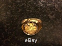 Pièce De Monnaie Eagle Liberty De 5 Pi En Or 22 Carats Montée Sur Un Anneau De 14 Carats, États-unis - À L'état Neuf