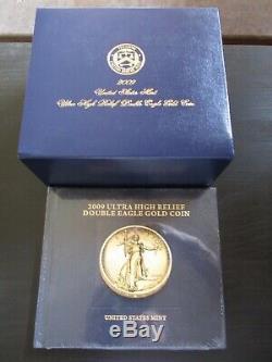 Pièce En Or À Double Aigle En Relief Avec Relief Extra-fort 2009, U.s. Mint / Coa /