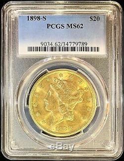 Pièce Rare Rare En Or Américain Double Eagle Ms62 Pcgs Liberty Mint 1898-s