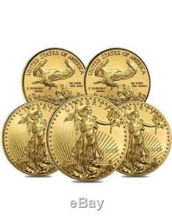 Pré Vente Lot De 5 1/10 Oz D'or American Eagle 5 $ Coin