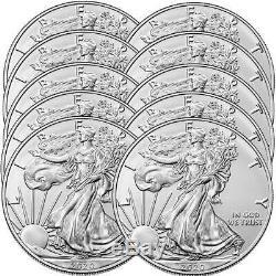 Pré-vente Lot De 10 2020 $ 1 American Silver Eagle 1 Oz Brillant Uncirculated