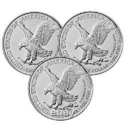 Presale Lot De 3 2021 $1 Type 2 American Silver Eagle 1oz Brillant Uncircul