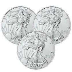 Prévente Lot De 3 2021 $1 American Silver Eagle 1 Oz Brilliant Uncirculated