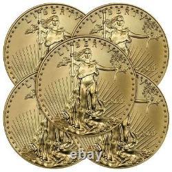Prévente Lot De 5 2021 $5 American Gold Eagle 1/10 Oz Brilliant Uncirculated