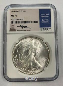 Rare 1986 Us Mint Silver Eagle John Mercanti Signée À La Main Certifié Ngc Ms70
