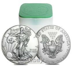 Roll Of 20 2020 1 Oz Silver American Eagle $1 Coin Bu (lot, Tube De 20)