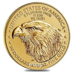 Roll Of 20 2021 1 Oz Gold American Eagle $50 Coin Bu Type 2 (lot, Tube De 20)