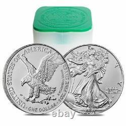 Roll Of 20 2021 1 Oz Silver American Eagle $1 Coin Bu Type 2 (lot, Tube De 20)