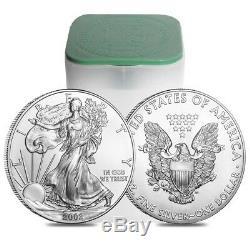 Rouleau De 20 $ 2002 Silver American Eagle 1 Pièce De 1 Once Bu (lot, Tube De 20)