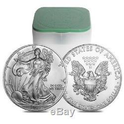 Rouleau De 20 $ 2003 Silver American Eagle De 1 Oz Pièce De 1 $ Bu (lot, Tube De 20)