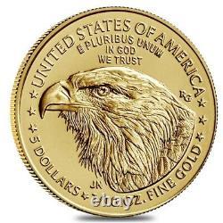 Rouleau De 50 2021 1/10 Oz Gold American Eagle 5 $ Coin Bu Type 2 Lot, Tube De