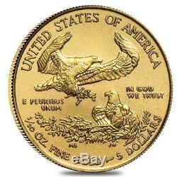 Rouleau De 50 Pièces D'or 2019 1/10 Oz American Eagle De 5 $ Bu (lot, Tube De 50)