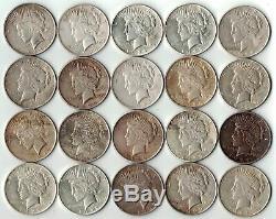 Rouleau Lot Vg-xf (20) 1922-1925 P / D / S Paix Argent Dollar Collection 90% Eagle
