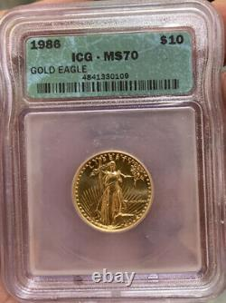 Scarce 1986 10 $ 1/4 Oz Gold Eagle Coin Icg Ms70 Mint State Mme 70 Finest Connu