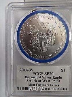 Série De Graveurs À La Menthe Signés Eagle Pcgs Sp70 Mercanti, Argent Brûlé, W $ 1 2014