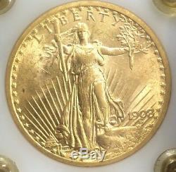 Super 1908 P Ms S $ 20 Or Double Eagle Us Monnaie De St. Gaudens No Motto Gem Bu